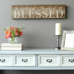 Grateful, Thankful, Blessed Wooden Wall Decor