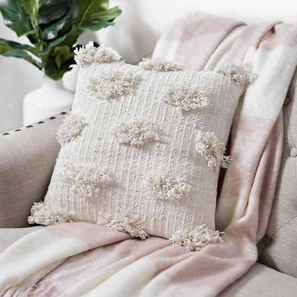 Throw Pillows - Ivory Shaggy Dot Pillow
