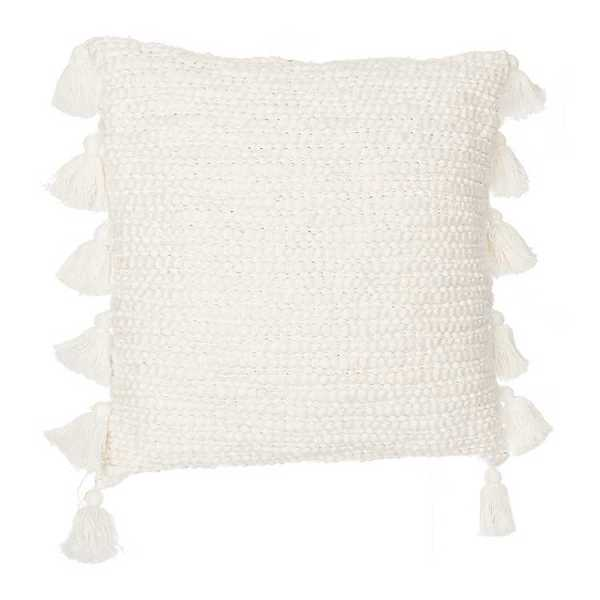 Throw Pillows - Ivory Cotton Knots Pillow with Tassels