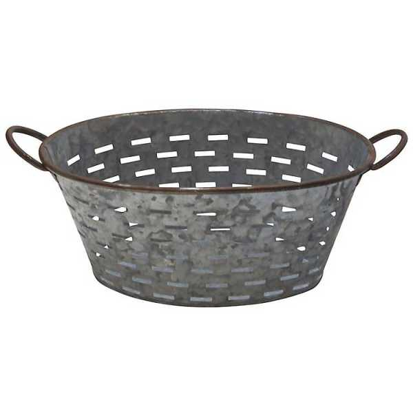 Baskets & Boxes - Galvanized Metal Oval Punch Basket