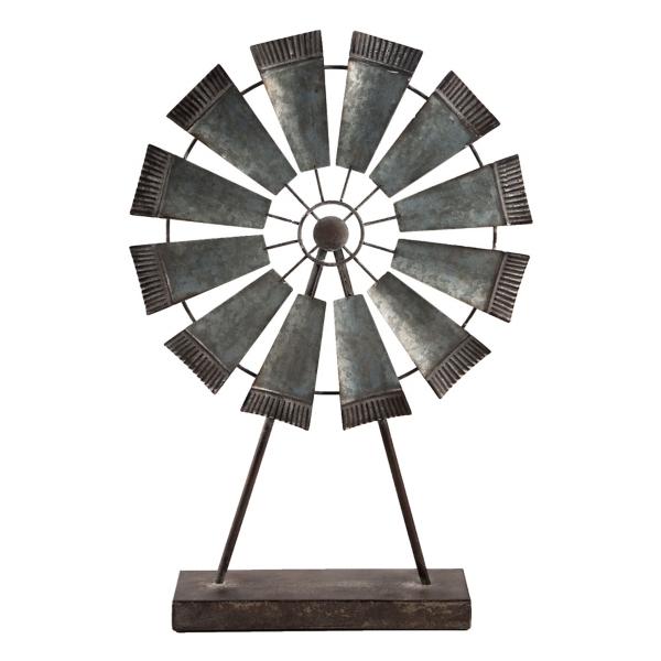 Statues & Figurines - Galvanized Metal Windmill on Stand