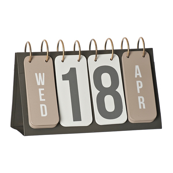 Decorative Accessories - Gray and Gold Metal Flip Calendar