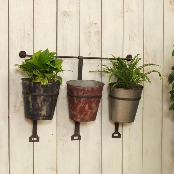 Garden Decor - Hanging Metal Bucket Planters