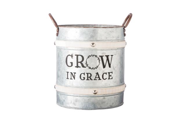 Garden Decor - Grow in Grace Galvanized Bucket Planter
