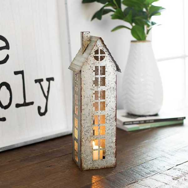 Candle Holders - Galvanized House Pillar Candle Holder, 15 in.