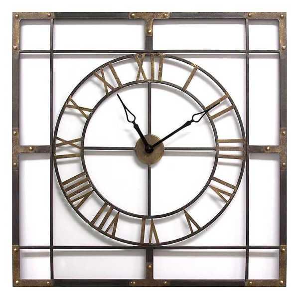 Wall Clock - Bronze Industrial Metal Wall Clock