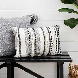 Throw Pillows - Gray Knots and Braids Wool Accent Pillow