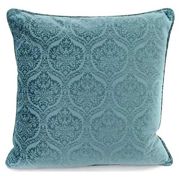 Throw Pillows - Blue Velvet Damask Welted Feather Pillow