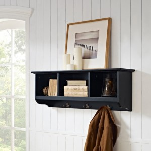 Black Brenna Storage Shelf with Hooks