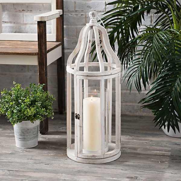 Candle Lanterns - Whitewash Wood Amelia Lantern