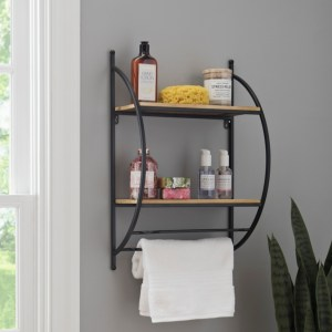 Double Wood and Metal Wall Shelf with Towel Rods