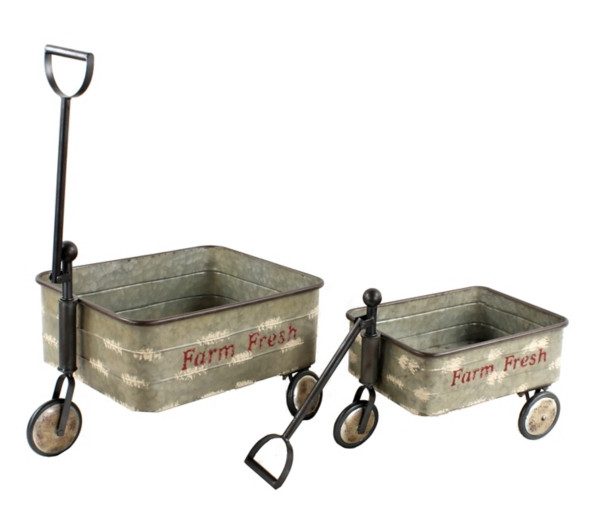 Planters - Rolling Old Galvanized Cart Planters