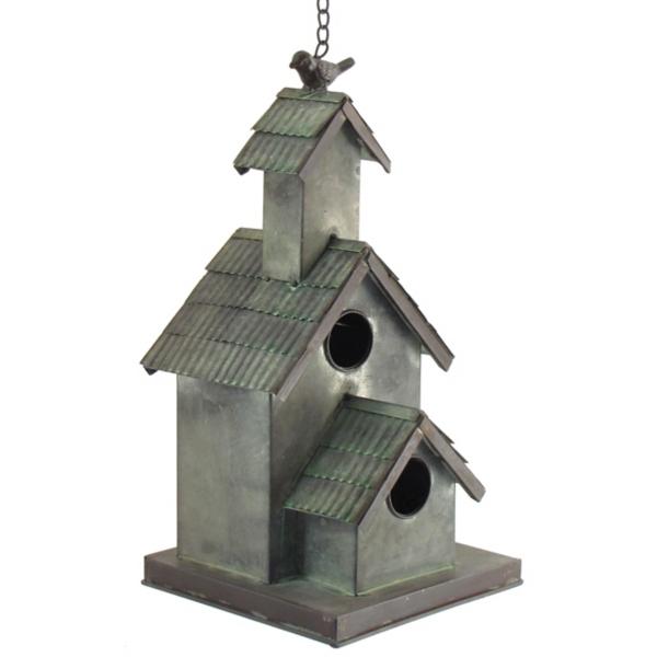 Garden Decor - Galvanized Hanging 3-Tiered Birdhouse