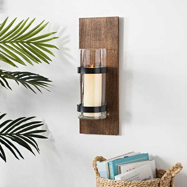 Wall Sconces - Wood and Black Metal Farmhouse Sconce