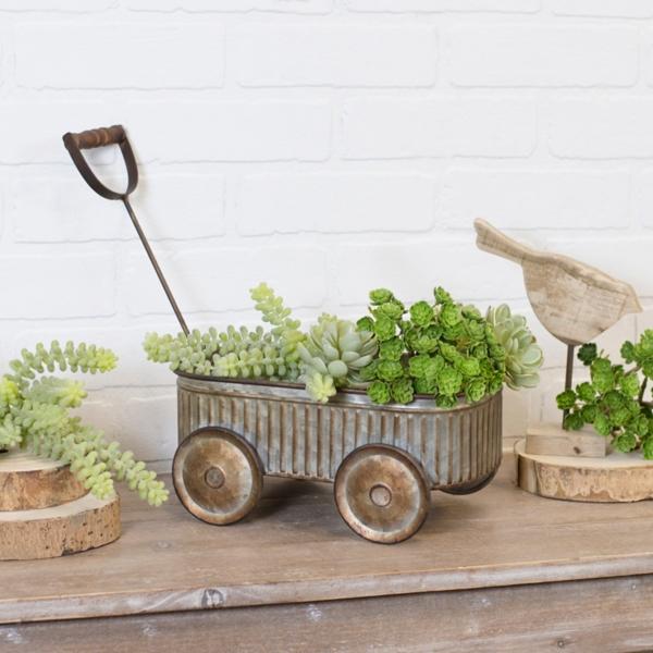 Planters - Galvanized Wagon Planter