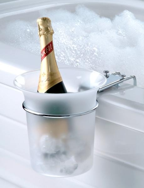 Bathroom Decor - Clear Ice Bucket with Mounting Bracket