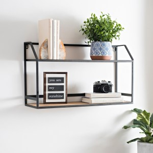 Wood and Metal Double Shelf Unit