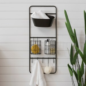 Industrial Hooks and Basket Wall Organizer