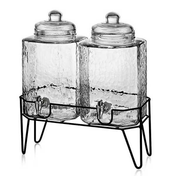 Beverage Dispensers - Textured Hamburg Beverage Dispenser Set with Stand