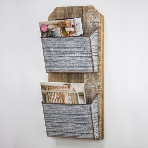 Wood Wall Rack with 2-Galvanized Pockets