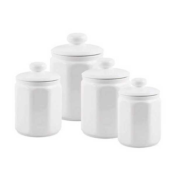 Kitchen Canisters - White Ceramic Panel Canisters