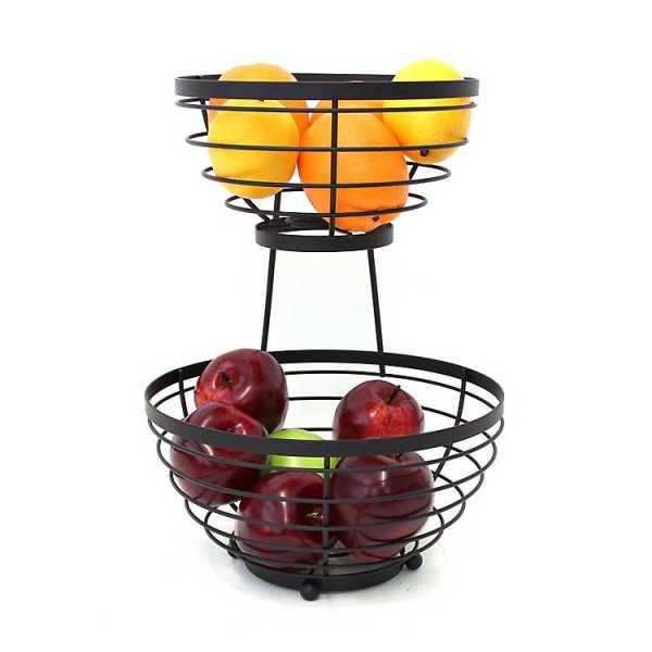 Fruit Bowls & Baskets - Black Banded 2-Tier Fruit Basket