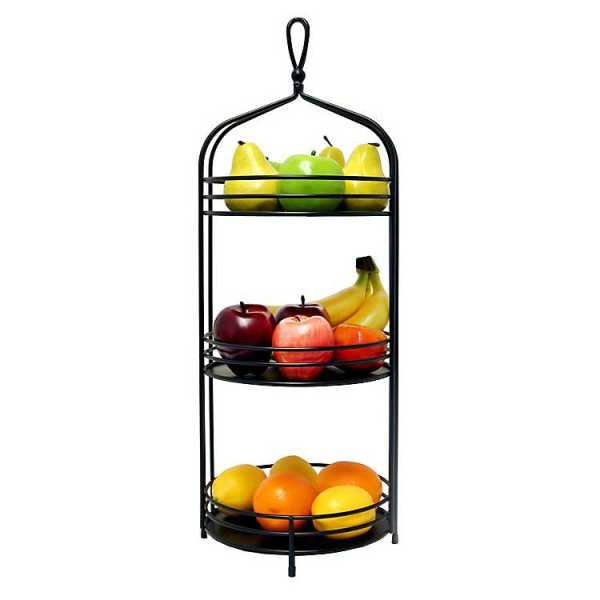 Fruit Bowls & Baskets - Black 3-Tier Market Stand