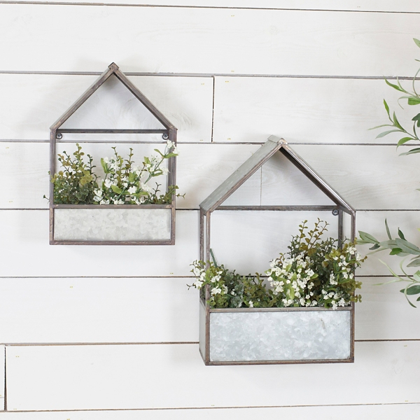 Planters - House Shaped Galvanized Wall Planters