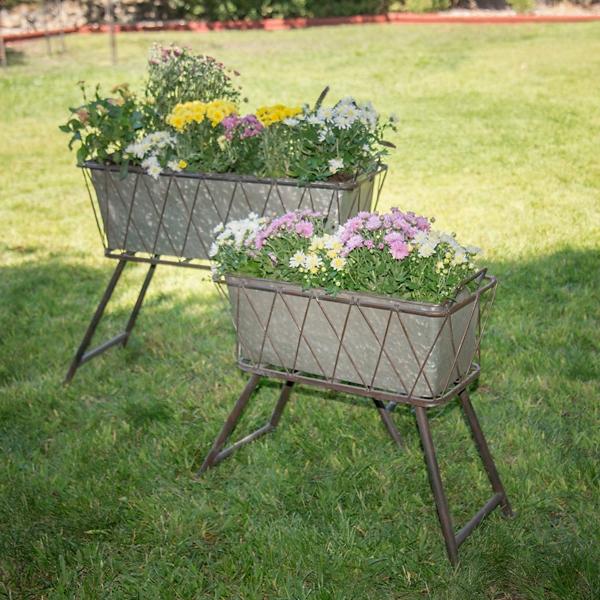 Planters - Gray Criss-Cross Standing Planters