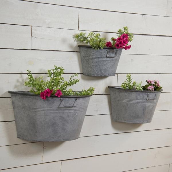 Planters - Galvanized Half Bucket Wall Planters