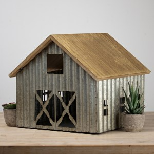Statues & Figurines - Galvanized Metal Barn Tabletop Statue