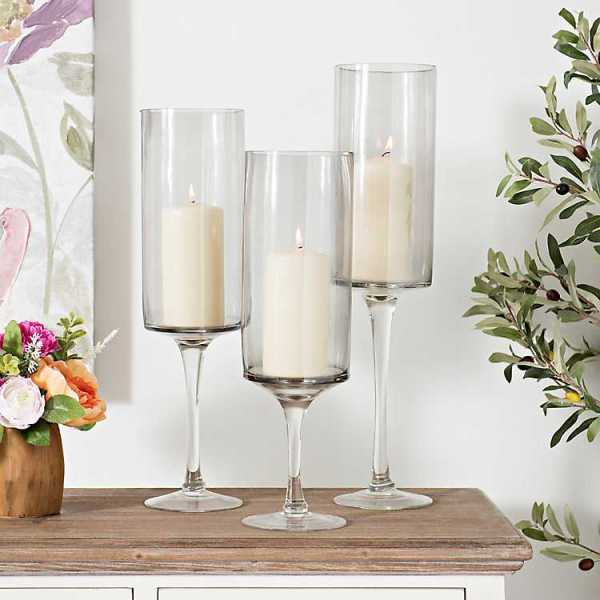 Candle Holders - Smoke Stemmed Glass Candle Holders