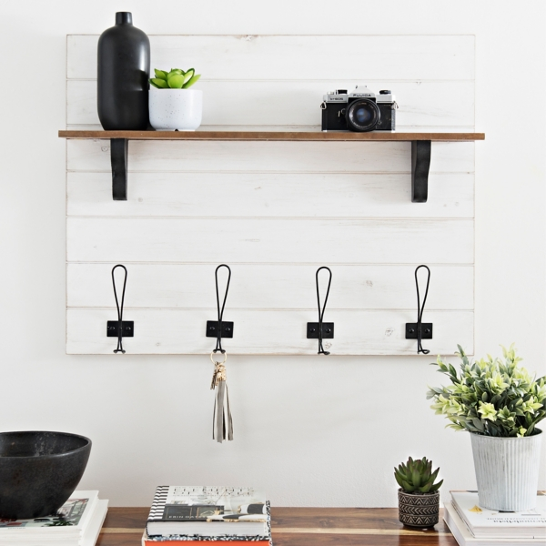 Faux Shiplap Entryway Wall Shelf with Hooks - Mocome Decor on Corner Sconce Shelf Tray id=25938