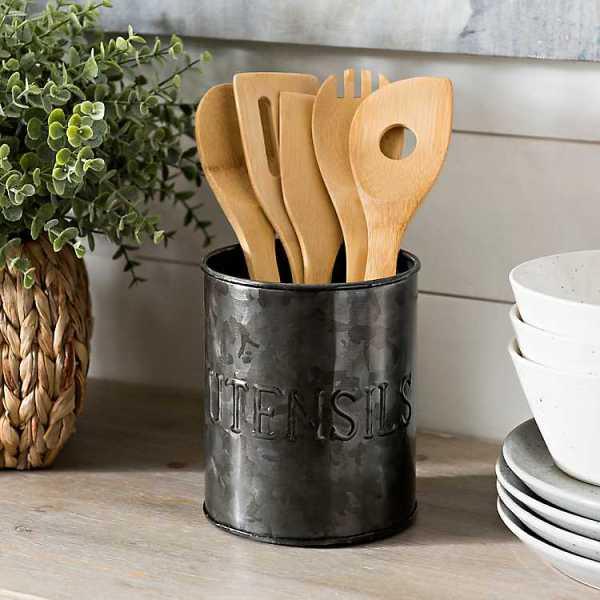 Kitchen Accessories - Black Galvanized Embossed Utensil Crock