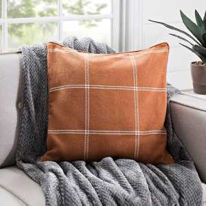 Throw Pillows - Rust Plaid Window Pane Pillow