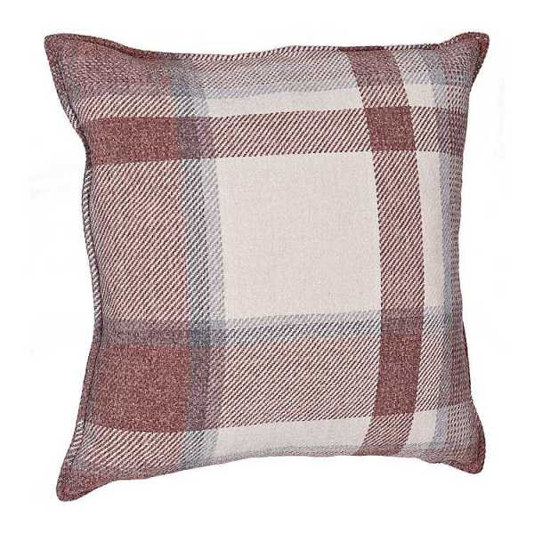 Throw Pillows - Red and Blue Chenille Plaid Pillow