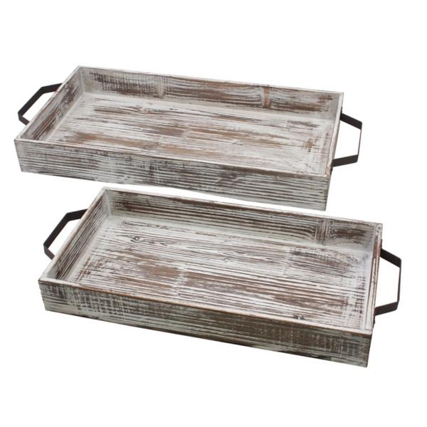 Decorative Trays - Whitewashed Wood Trays