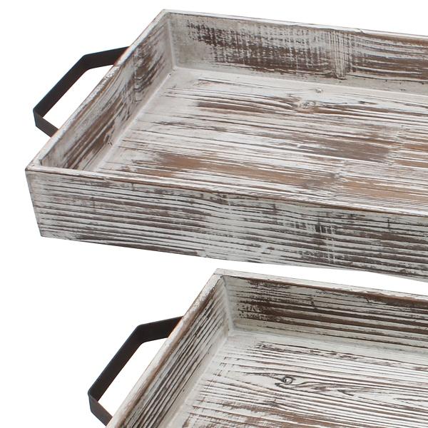 Decorative Trays - Whitewashed Wood Trays, Set of 2 ... on Corner Sconce Shelf Tray id=18275