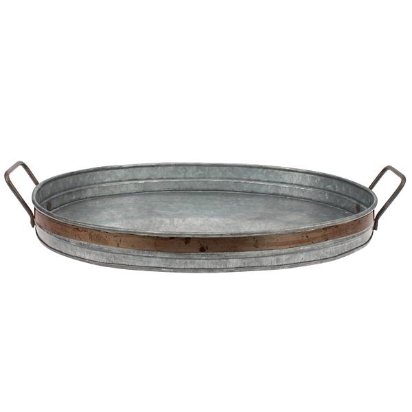 Decorative Trays - Galvanized Metal Tray with Rust Trim
