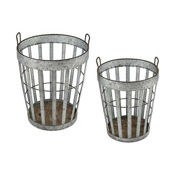 Baskets & Boxes - Galvanized Metal Oak Bottom Baskets