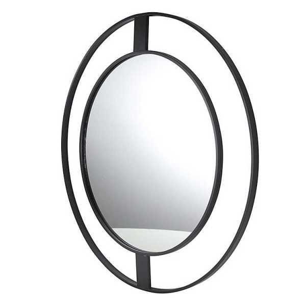 Wall Mirrors - Black Metal Open Frame Round Mirror