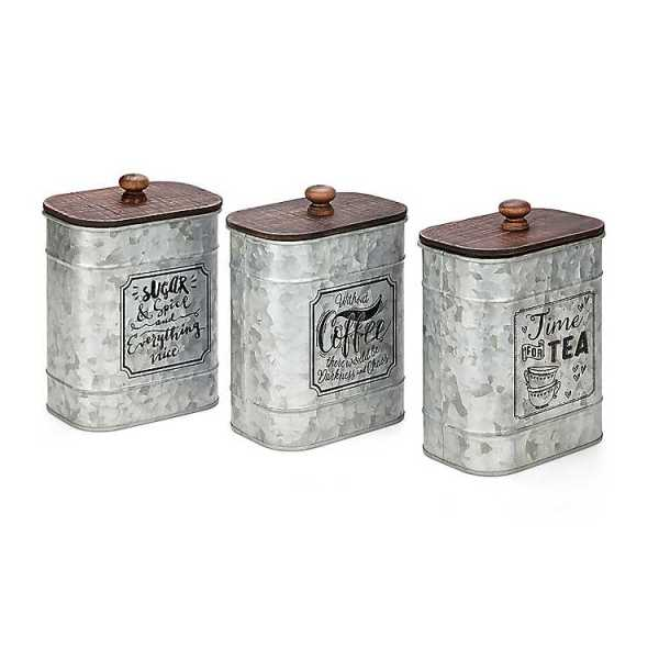 Kitchen Canisters - Galvanized Coffee, Tea, Sugar Canisters