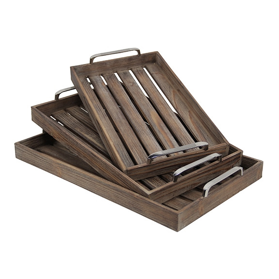 Decorative Trays - Walnut Slatted Wood Trays, Set of 3 ... on Corner Sconce Shelf Tray id=76124