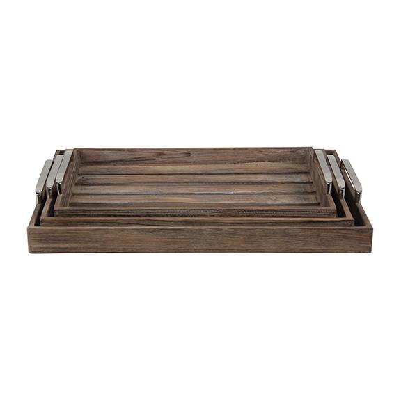 Decorative Trays - Walnut Slatted Wood Trays, Set of 3 ... on Corner Sconce Shelf Tray id=26019