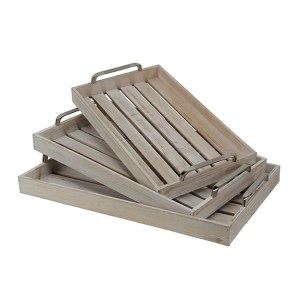 Decorative Trays - Whitewashed Slatted Wood Trays