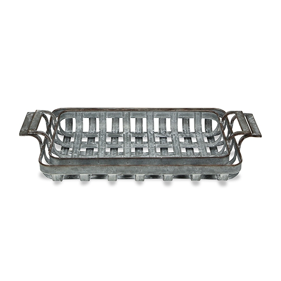 Decorative Trays - Gray Woven Metal Trays, Set of 2 ... on Corner Sconce Shelf Tray id=37168