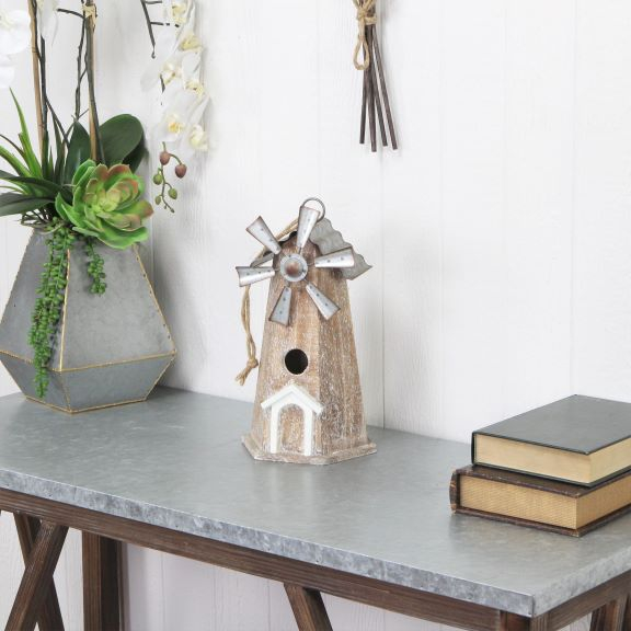 Statues & Figurines - Wood and Metal Windmill Birdhouse