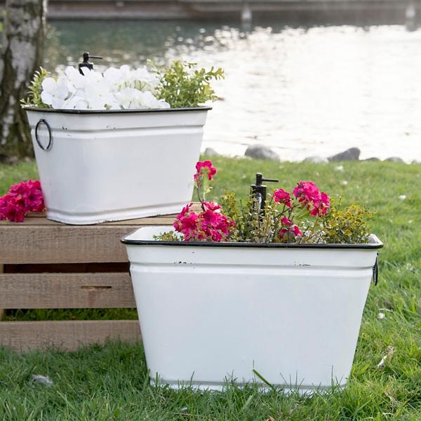 Planters - White Metal Faucet Planters