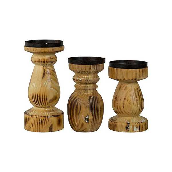 Candle Holders - Natural Wood Grain Candle Holders