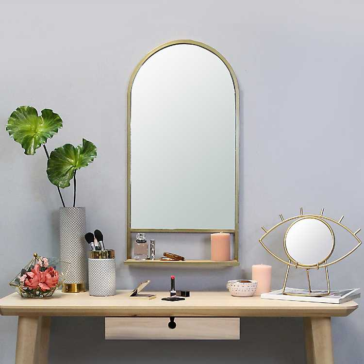 Wall Mirrors - Gold Metal Arch Wall Shelf with Collapsible ... on Corner Sconce Shelf Tray id=40968